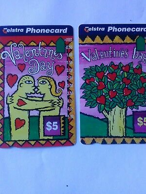 2x $5 1 Hole Phonecards Valentine's Day (from gift cards ) prefix 1073-4