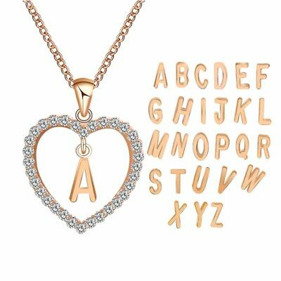 A-Z Letters Womens Chic Name Pendant For Girl Fashion Long Chain Heart Necklaces