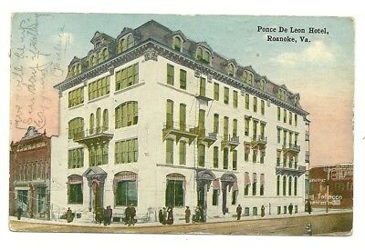 1917 Roanoke Virginia View Of The Ponce De Leon Hotel - Tobacco Advertising Sign