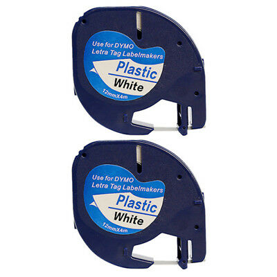 2pack 91331 Compatible DYMO Letratag Black on White Plastic Label Tape 91221