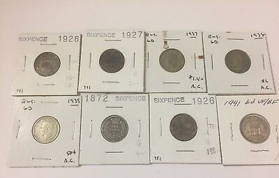 Great Britain Six Pence Coins 1872-1941 Lot Of 8 #21