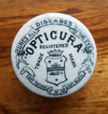Antique Opticura Rare Pot lid victorian  bottle jar