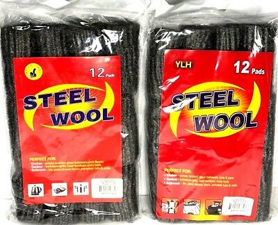 24 Pc Steel Wool Pads Kitchen Bathroom Wire Cleaning Ball Pan Cleaner