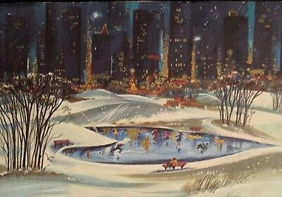 Vintage Mid Century Front Only Skaters In Central Park Christmas Card