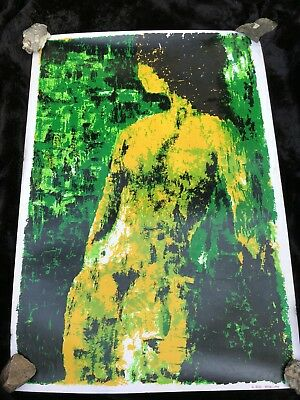 """Stunning 1969 Large Nude Screenprint on Wove Paper - """"Green Lady"""", signed Arvid"""