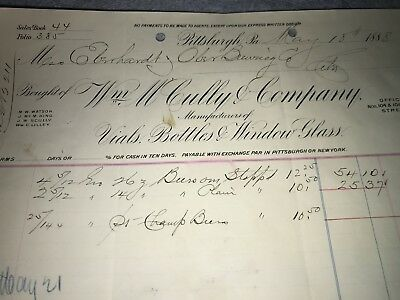 Pittsburgh Glass~Wm. MCculley + Co. Bottle-Factory Invoice