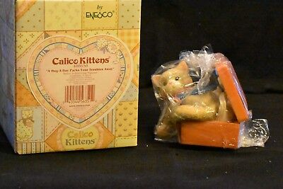 "Enesco Calico Kittens ""A Hug-A-Day Packs Your Troubles Away"" Cat/Case  488658"