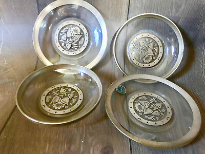 Vtg Mid Century George Briard 4pcs Sterling Silver Rimmed Glass Plate & Bowl