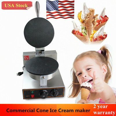 Commercial Electric Stainless Steel Ice Cream Egg Roll Waffle Cone Maker Machine