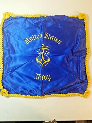 Vintage USN United States Navy Satin Pillow Cover Case Blue with Gold Braid