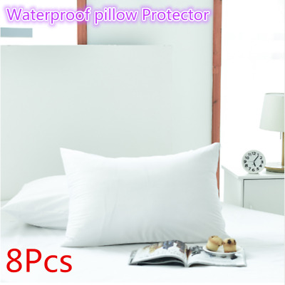8Pcs Waterproof Zipper Opening Pillow Case Anti-allergy Pillow Protector 50x70cm
