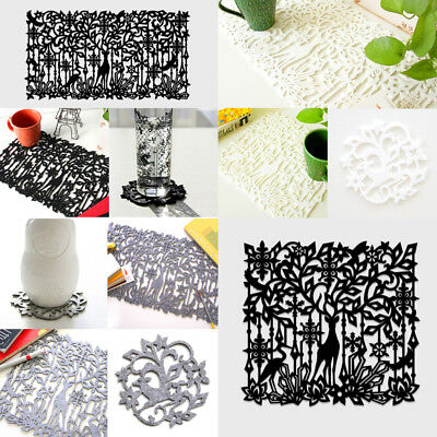 Set of 4 Placemats Kitchen Dining Table Place Mats Drink Cup Coasters Felt