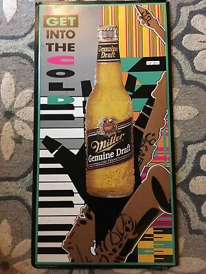 Large Metal Miller Genuine Draft Beer Bottle Sign