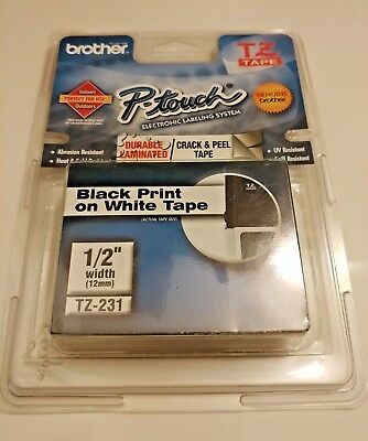 Brother TZ 231 Black on White Label Tape P-Touch TZ-231 12mm