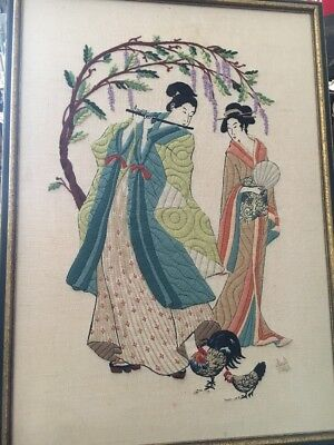 NIce Old PAIR Chinese Embroidered Two Women Chicken S Signed 1983