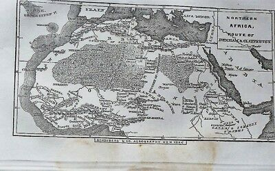 1856 antique MAP + text illus DENHAM CLAPPERTON EXPLORATION CENTRAL AFRICA