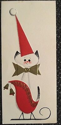 Vintage Mid Century Embossed Cat In Red Sleigh Gold Gilt Accents Christmas Card