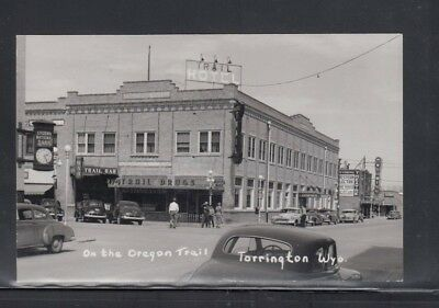 Real Photo Postcard Downtown Torrington WY Hotel Drug Store & Theatre Used 1953