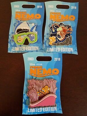 Disney Finding Nemo 15th Anniversary Three Pin Set Dory Bruce NEW LE 2000