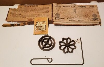 Vintage Antique ALFRED ANDRESEN & CO Cast Iron Rosette Patty Irons-recipe book