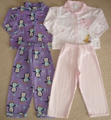 GIRLS WINTER PAJAMAS / PJS POOH AND PIGLET AND PURPLE PENGUIN - SIZE 4 x 2 PAIRS