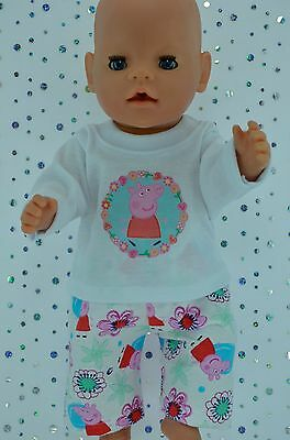 "Play n Wear Doll Clothes To Fit 17"" Baby Born PJ'S~FLANNELETTE PANTS~TOP"