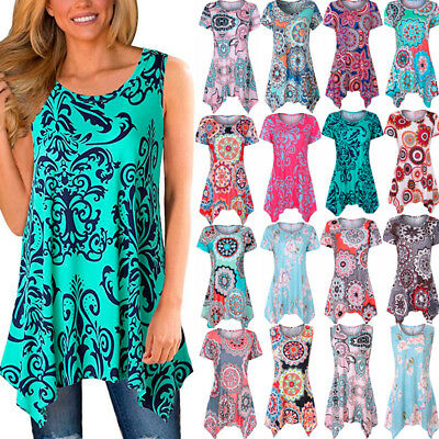 Boho Womens Floral Short Sleeve T Shirt Blouse Ladies Casual Summer Loose Tops