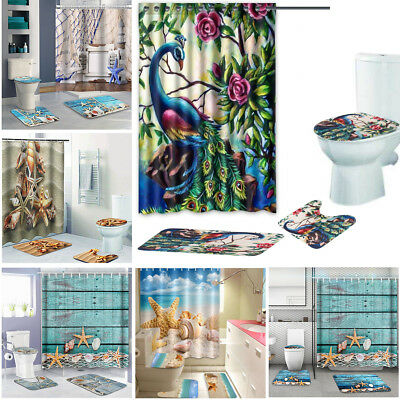 4pcs Multi Types Home Shower Curtain +Bathroom Mat Rug Toilet Cover Bath Pad Set