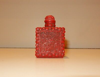 Red Chinese Scent Snuff Bottle Vintage 1940s