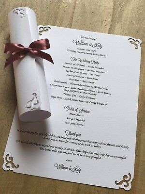 50 White Personalised Wedding Order of Service Scrolls Swirl design & ribbon bow