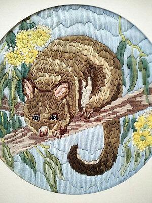 Australian Ringtail Possum ~ Vintage Hand Embroidered Framed Picture