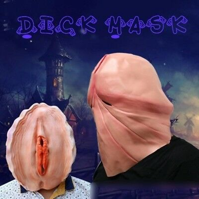 Penis Dick Head Pearl Shell Full Face Mask Prank Party Costume Halloween Gift