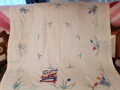 VINTAGE UNFINISHED LARGE TABLECLOTH EMBROIDERY PLUS COTTONS. 127x125 PURE LINEN