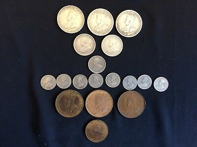 18 X Vintage Australian Coins - 1916 to 1936 - 3p to 1 Florin - All King George