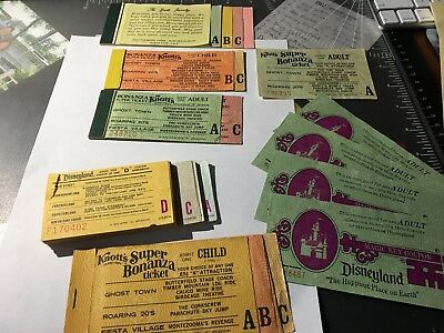 Vintage Disneyland and Knott's Berry Farm ticket Lot 60's and 70's