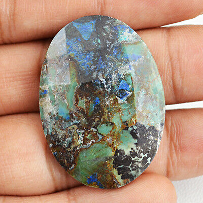 41.40 Cts Natural Pear Shaped Azurite Checkered Cut Loose Gemstone - Big Deal