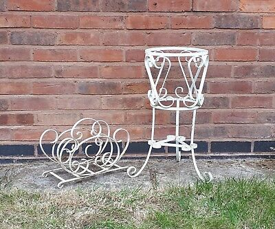 Lovely Vintage Matching Plant Stand and Magazine Rack In Wrought Iron 1950/60