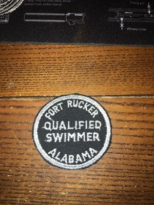 Rare Fort Rucker Alabama Qualified Swimmer  Patch 1970s 2.5""