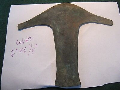 RARE TAJADERO AXE-MONEY PRE-COLUMBIAN ERA  AZTEC HOE MONEY LOT#2 7'' x 6 1/8''
