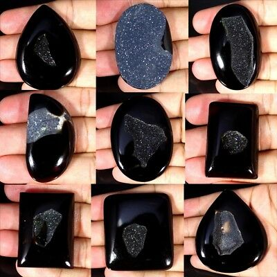 Black Onyx Agate  Druzy Oval Pear Cushion Cabochon Loose Gemstone Collection