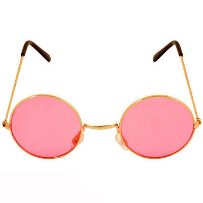 PINK Ozzy Hippie Hippy 60s 1970s Round Lennon Specs Fancy Dress Costume Glasses