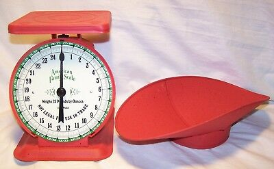 Vintage 1906 Red American Family Scale 25 LB Old Goods Food Produce Farm Scale