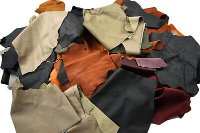 Mix Upholstery leather scraps - SMALL cowhide pieces  | ECONOMICAL GREAT VALUE