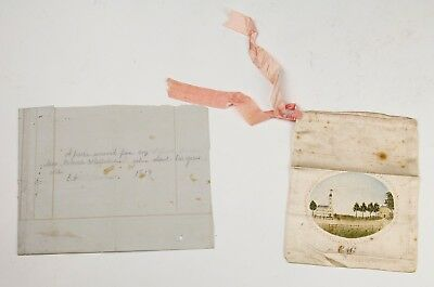 WONDERFUL ANTIQUE HAND MADE PAINTED SILK PURSE BAG - EARLY 1800's