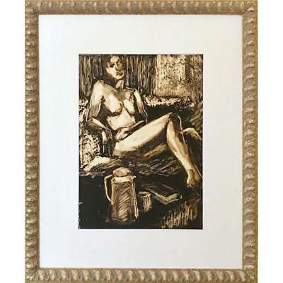 Vintage Modernist Painting of a Female Nude Signed Harrison