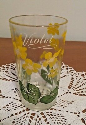 "Vintage Peanut Butter Glass Yellow VIOLET  5"" GUC."