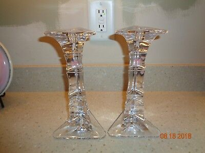 "Marquis By Waterford 10"" Cathay New Beautiful Crystal Candle Holders"