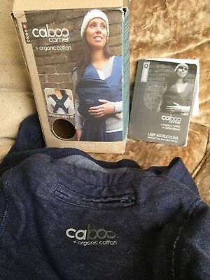 Close Caboo Baby Carrier Sling + Organic Cotton in Blue. Good Condition used.