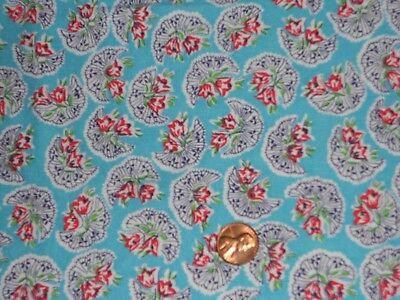Vintage   Cute Fan Aqua   Feed  Sack  Cotton Fabric Unused