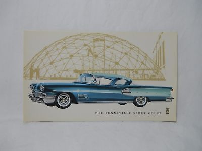 1958 Pontiac Bonneville Sport Coupe Advertising Postcard Original Nos Unused